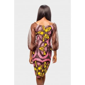 Puffy Sleeved Ankara fitted dress
