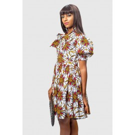 Vibrant Ankara Neck Tie Flare Dress with Puff Sleeves