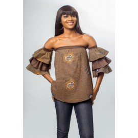 Off the shoulder Ankara Lightly Stoned Top