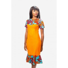 Fitted Jersey and Ankara Mix Dress