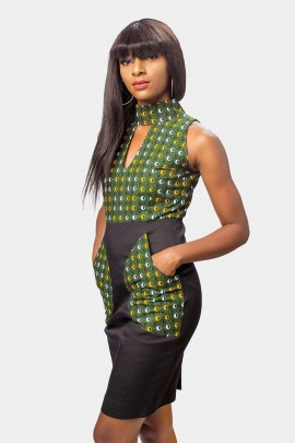 Black Stetch Denim business casual ankara Dress