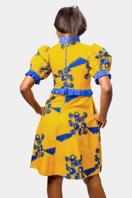 Yellow and Blue Fit and Flare  Dress