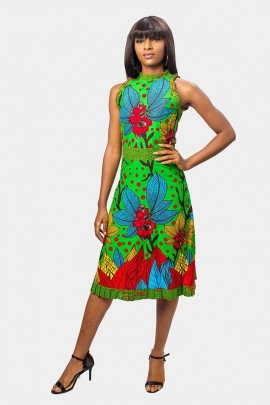 Vibrant mini pleated Fit and Flare Dress