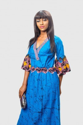 Beautiful Blue Batik Long Dress with Sequins on V-neckline