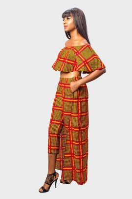 Off the Shoulder Crop Top and Matching Cape Pencil Pants