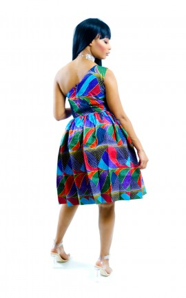 Obibini Leaf Ribs African Short Dress