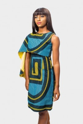 Ankara Classics Caped Dress