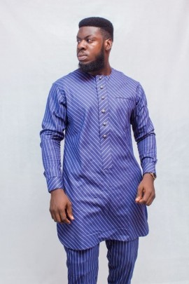 Men's African Stripped Long Sleeve Suit