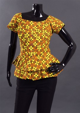Orange Modern Checkered Kaba Top