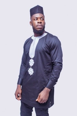 Silver Embroidered African Mens Suit